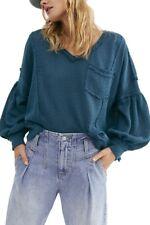 Free People Open Knit Herringbone Oversized Top  Blue  XS/Small NEW