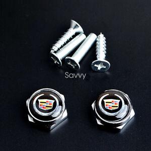 2 Pcs Black Separate Chrome LICENSE PLATE FRAME Bolt Screws For Cadillac Model