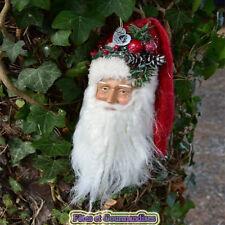 Pere Noel tête à suspendre sapin couronne déco table fêtes de fin d'année rouge