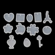 12pcs DIY Silicone Jewelry Mold Resin Making Pendants Necklace Bracelet Earrings