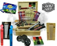 Smokers Stash Box Smoking King Size Rolling Paper Roach Grinder Or Pipe Sets