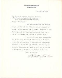 Ambassador of Republic of China to USA  Koo Vi Kyuin Signed Letter 1917