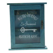 Key Box Wooden Key Holder Storage Cabinet Rack Organizer with 6 Hooks Blue