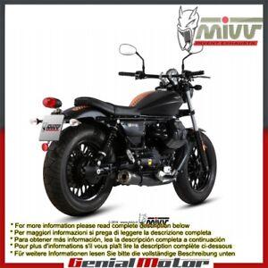 Mivv Exhaust Mufflers Ghibli Black Steel for Moto Guzzi V9 Bobber Roamer 2016