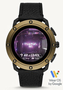 NEW DIESEL BRONZE AXIAL BLACK LEATHER MENS TOUCHSCREEN SMARTWATCH DZT2016 SEALED