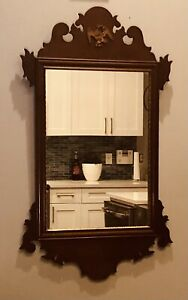 Antique Federal Wood Carved Mahogany Gilt Chippendale Mirror with Brass Eagle