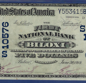 MS 1902 $5  ♚♚BILOXI,MISSISSIPPI♚♚ PMG VF 30   STRONG COLOR!!!