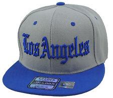 NEW LOS ANGELES LA 3D EMBROIDERY FLAT BILL SNAPBACK CAP HIP HOP HAT GRAY/BLUE