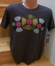 Gray Tee Shirt Throw-back Retro Record Party Vinyl Platter LP 33 Music L NWT