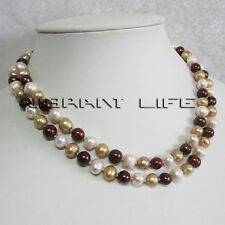 """34"""" 7-9mm Multi Color Natural Freshwater Pearl Necklace M4 Strand Jewelry"""