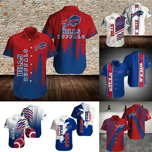 Buffalo Bills Men's Summer Causal Short Fitness Sleeve Collared Button Up Shirts