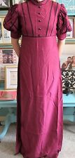 Vintage 1960's 'Cornell' Dress Aubergine Colour & Puffed Sleeves Size 8/10