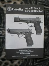 Beretta Series 92 Stock & 92 Combat Operators Manual - Genuine Oem - New