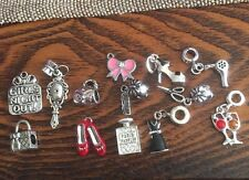 LOT OF 104 GIRLY GIRL EUROPEAN BEADS CHARMS  COMB SCISSORS SHOES BAGS