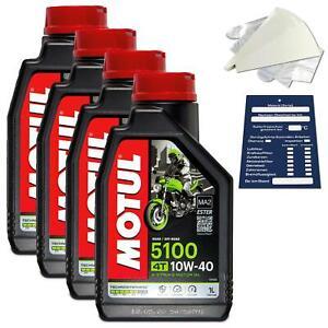 4 Litre Original Motul L'Huile De Moteur Moto 10W40 5100 4T 4Takt 104066 Kit