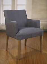 2 x Dining Chairs Grey Linen French Provincial Oak Bedroom Furniture Carver New