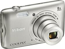 New Nikon Coolpix A300 20.1Mp Point and Shoot Digital Camera Silver 8x Zoom