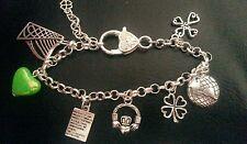 Stunning Irish Claddagh harp shamrock Celtic charm bracelet gift with gift box