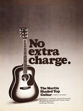"""1976 Martin Shaded Top Guitar photo """"No Extra Charge"""" vintage promo print ad"""