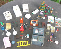 MIXED LOT DOLL HOUSE FURNITURE Christmas Bicycle Stove Clock Lights TV Heater