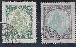 Hungary 1923. Patron Saint of Hungary. 500 Kr and 1000 Kr. Used NG