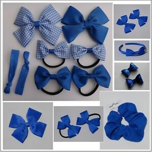 Royal Blue Back to School Bows Girls Bobbles Clips Sets Gingham checked