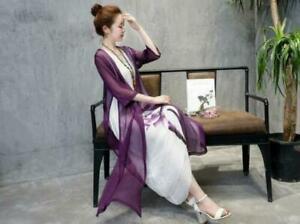 Summer Womens Chinese Linen Dress Floral Print Pullover Chiffon Coats 2Pcs Thin
