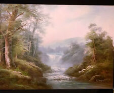 ORIGINALOIL PAINTING BY R.DANFORD 1960. OF A BEAUTIFUL WATERFALL $1,899.89 24X36
