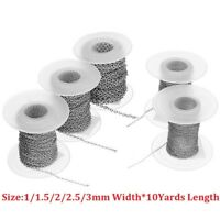 10yards/roll 1/1.5/2/2.5/3mm Stainless Steel Link Chain Fit Necklace Diy Making
