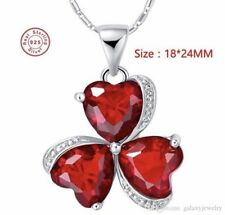 CLEARANCE 925 Sterling Silver Ruby Clover Crystal Pendant Necklace [PEN-25]