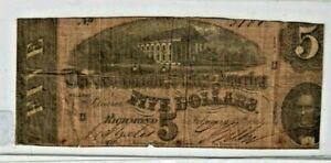"$5 ""CONFEDERATE""  (BLUEBACK) ""1800'S"" $5 RARE ""BLUEBACK""(1800'S) ROUGH!!!!!!!!!"