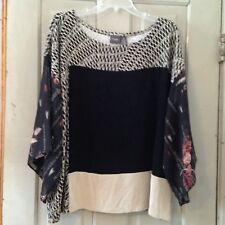travelers Chico 3 (XL) Top Blouse Floral Career Casual Packable Black Beige   2T