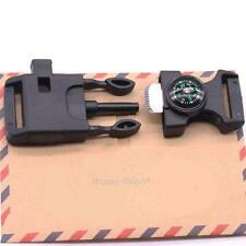 New 4 in 1 Outdoor Campus Paracord Belt Buckle Compass Flint Whistle Scrapper