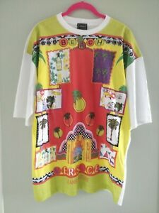 T-shirt Gianni Versace Jeans Couture Homme vintage Miami Beach 90s L