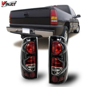 99-06 For Silverado Sierra Gloss Black Clear Altezza Tail Lights Set Replacement