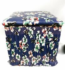 Vintage Footstool Storage Box Kitschy Blue Dogwood Print Vinyl Covered  13 Sq