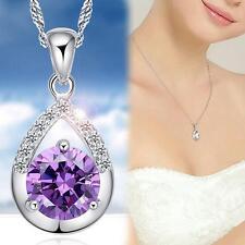 SILBER Halsketten Anhänger AAA + Zirkonia Tropfen Silberkette Kette Kristall