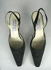 Pancaldi for Diane B Size 7.5 B Slingback Kitten Heels Italy Black Shoes Fabric