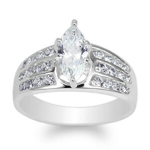 JamesJenny White Gold Plated 0.7ct Marquise CZ Beautiful Channel Ring Size 4-10