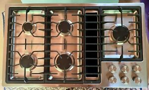 JENN AIR 36 inch stainless steel downdraft gas cooktop JGD3536BS00
