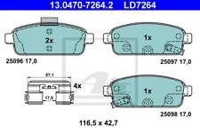 Bremsbelagsatz, Scheibenbremse für Bremsanlage Hinterachse ATE 13.0470-7264.2