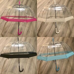 Clear Dome See Through Transparent Auto Open Brolly Umbrella
