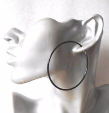 Big 6cm Black Hoop Clip-on Earrings - Spring Clip - Very Comfortable