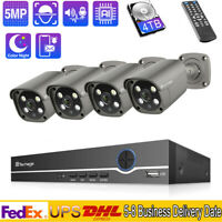 8CH 5MP AI IR Human Body Motion Face Detection Home Secruity Camera System Lot