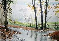 Oxfordshire cotswolds countryside trees river watercolour original painting A3