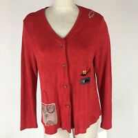Bread Staley Gretzinger Woman's shirt jacket wearable art size  2 medium red New
