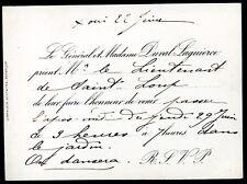 Bourgeoisie . Noblesse.carte d'invitation .Général Duval . Mme Duval Laguierce