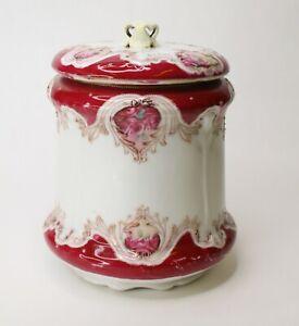 "Vintage Nippon Noritake Biscuit Jar Hand Painted Porcelain Canister 7 1/2"" Red"