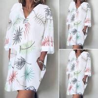 ZANZEA Womens Summer V Neck Floral Beach Dress Ladies Casual Loose Mini Dresses