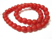 Recycling Glasperlen 13mm rot red Krobo Ghana Powder Glass Beads